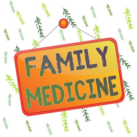 Handwriting text Family Medicine. Conceptual photo designed to provide basic healthcare to family members Colored memo reminder empty board blank space attach background rectangle Banco de Imagens
