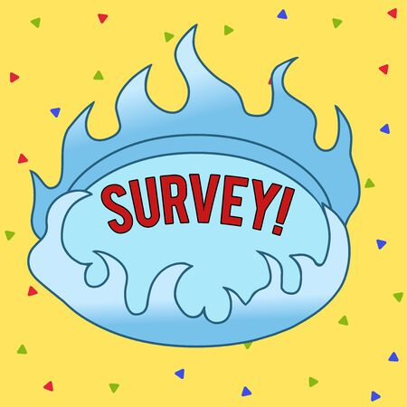 Text sign showing Survey. Business photo text research method used for collecting data from a predefined group Asymmetrical uneven shaped format pattern object outline multicolour design Banco de Imagens