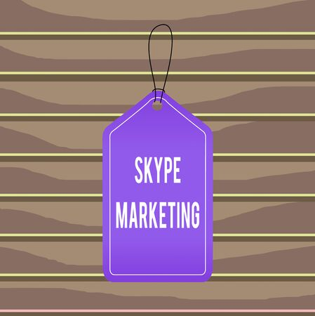 Conceptual hand writing showing Skype Marketing. Concept meaning apps that specializes in providing video chat and voice Empty tag colorful background label rectangle attach string Reklamní fotografie