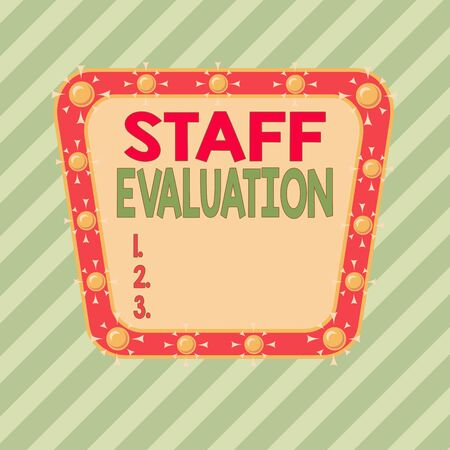Conceptual hand writing showing Staff Evaluation. Concept meaning assessment and review of a worker s is job perforanalysisce Asymmetrical uneven shaped pattern object multicolour design