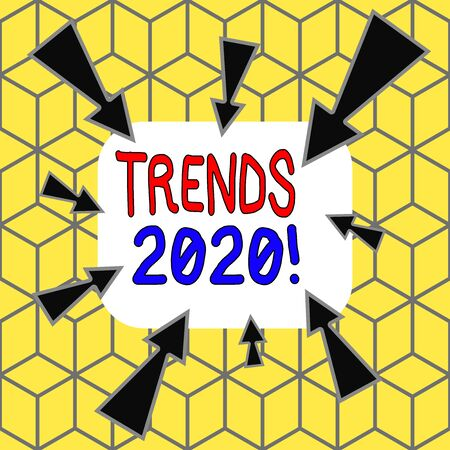 Text sign showing Trends 2020. Business photo text general direction in which something is developing or changing Asymmetrical uneven shaped format pattern object outline multicolour design