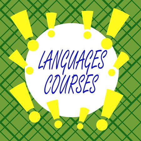 Word writing text Languages Courses. Business photo showcasing set of classes or a plan of study on a foreign language Asymmetrical uneven shaped format pattern object outline multicolour design