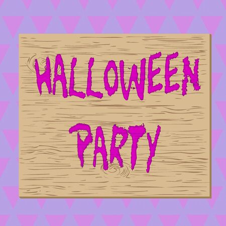 Conceptual hand writing showing Halloween Party. Concept meaning eve of the Western Christian feast of All Hallows Day Square rectangle unreal cartoon wood on the coloured wall
