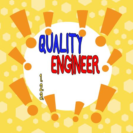 Conceptual hand writing showing Quality Engineer. Concept meaning ensure the overall quality of a analysisufactured product Asymmetrical uneven shaped pattern object multicolour design Stock Photo