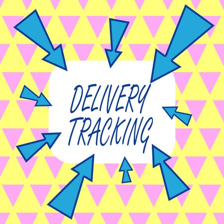 Text sign showing Delivery Tracking. Business photo showcasing the process of localizing shipping containers and mails Asymmetrical uneven shaped format pattern object outline multicolour design Stockfoto