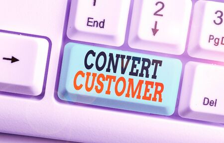 Text sign showing Convert Customer. Business photo text the percentage of visitors who take the desired action