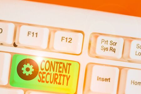 Word writing text Content Security. Business photo showcasing the protection against deliberate threats to content 스톡 콘텐츠
