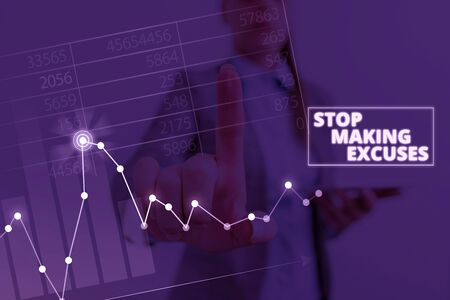Writing note showing Stop Making Excuses. Business concept for Cease Justifying your Inaction Break the Habit