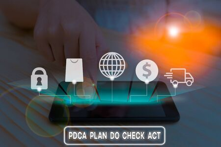 Writing note showing Pdca Plan Do Check Act. Business concept for Deming Wheel improved Process in Resolving Problems Stock Photo