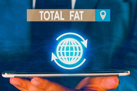 Text sign showing Total Fat. Business photo showcasing combined value of the different types of fat shown at the label