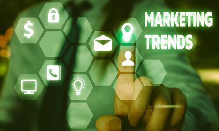 Conceptual hand writing showing Marketing Trends. Concept meaning changes and developments in trading in the market