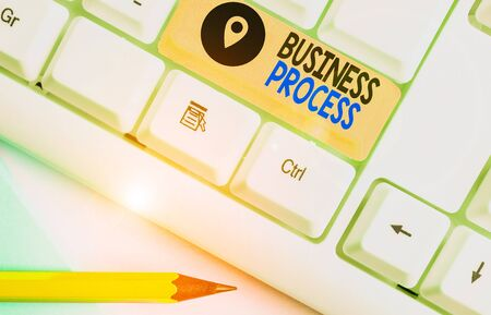 Text sign showing Business Process. Business photo showcasing implemented to accomplish a target organizational goal