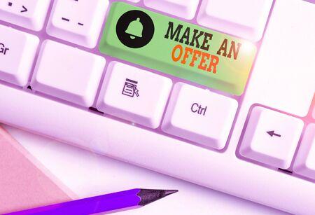 Handwriting text writing Make An Offer. Conceptual photo Proposal Bring up Volunteer Proffer Bestow Bid Grant