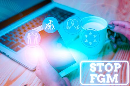 Handwriting text Stop Fgm. Conceptual photo Put an end or stop on genital cutting and circumcision Stock Photo