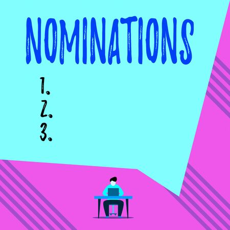 Text sign showing Nominations. Business photo showcasing action of nominating or state being nominated for prize Young man sitting on chair while typing use his laptop above the table Stock Photo