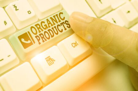 Text sign showing Organic Products. Business photo showcasing made from materials produced by organic agriculture