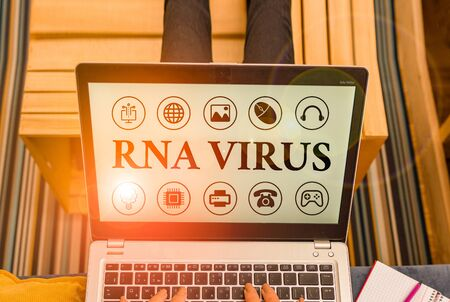 Word writing text Rna Virus. Business photo showcasing a virus genetic information is stored in the form of RNA Фото со стока