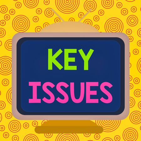 Text sign showing Key Issues. Business photo text vital or unsettled matter that showing are arguing about Square rectangle old multicoloured painting television picture wood design Imagens