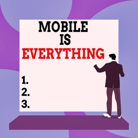 Conceptual hand writing showing Mobile Is Everything. Concept meaning Handheld Computer Device a Planner Wallet Organizer Back view Man dressed standing platform facing blank rectangle