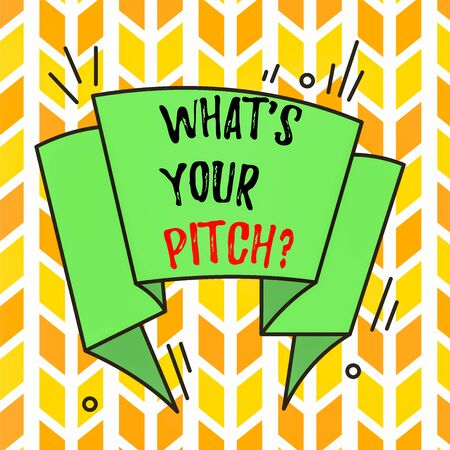 Text sign showing What S Is Your Pitch question. Business photo text asking about property of sound or music tone Asymmetrical uneven shaped format pattern object outline multicolour design Imagens
