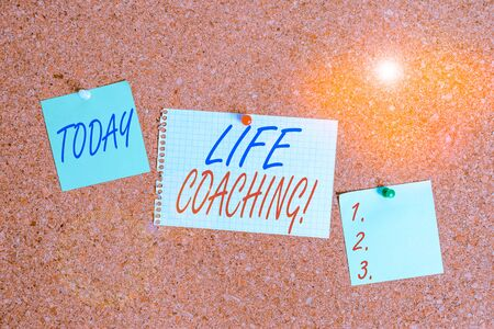 Text sign showing Life Coaching. Business photo showcasing demonstrating employed to help showing attain their goals in career Corkboard color size paper pin thumbtack tack sheet billboard notice board Imagens