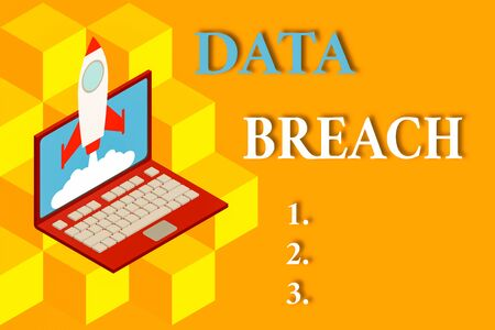 Word writing text Data Breach. Business photo showcasing incident in which sensitive or confidential data is copied Rocket launching clouds laptop background. Startup project growing. SEO