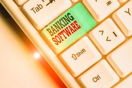 Text sign showing Banking Software. Business photo text typically refers to core banking software and interfaces