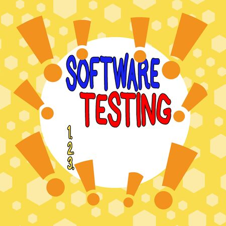 Conceptual hand writing showing Software Testing. Concept meaning evaluate the functionality of a software application Asymmetrical uneven shaped pattern object multicolour design