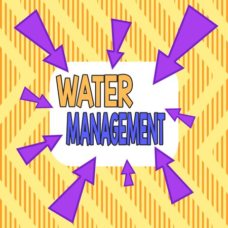 Word writing text Water Management. Business photo showcasing optimum use of water resources under defined water polices Asymmetrical uneven shaped format pattern object outline multicolour design