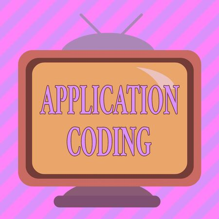 Text sign showing Application Coding. Business photo showcasing process by which a mobile app is developed for mobile Square rectangle old multicoloured painting television picture wood design Imagens