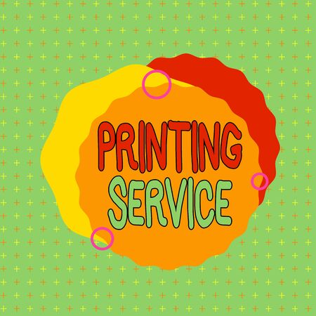 Text sign showing Printing Service. Business photo showcasing program offered by print providers that analysisage all aspects Asymmetrical uneven shaped format pattern object outline multicolour design