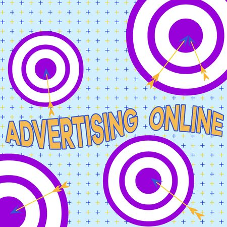 Text sign showing Advertising Online. Business photo showcasing marketing strategy that involves the use of the Internet Arrow and round target inside asymmetrical shaped object multicolour design Foto de archivo
