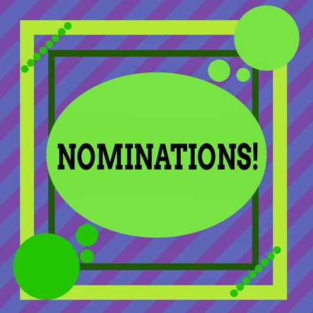 Word writing text Nominations. Business photo showcasing action of nominating or state being nominated for prize Asymmetrical uneven shaped format pattern object outline multicolour design