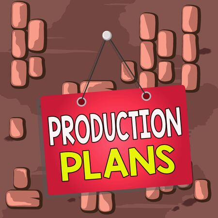 Word writing text Production Plans. Business photo showcasing deciding how to go about producing a particular product Colored memo reminder empty board blank space attach background rectangle
