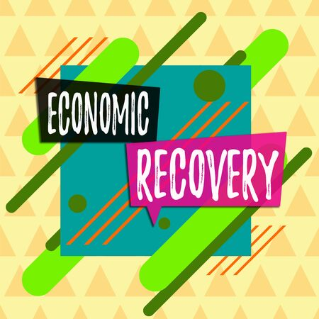 Text sign showing Economic Recovery. Business photo showcasing rise of business activity signaling the end of a recession Asymmetrical uneven shaped format pattern object outline multicolour design