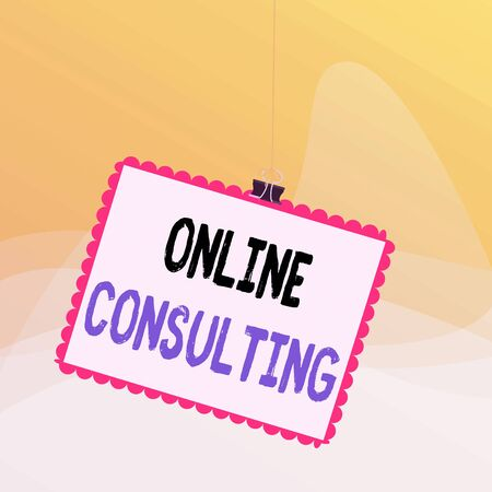 Writing note showing Online Consulting. Business concept for get information or advice from demonstrating through internet Stamp stuck binder clip square color frame rounded tip