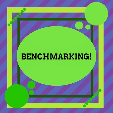Word writing text Benchmarking. Business photo showcasing evaluate something by comparison with standard or scores Asymmetrical uneven shaped format pattern object outline multicolour design