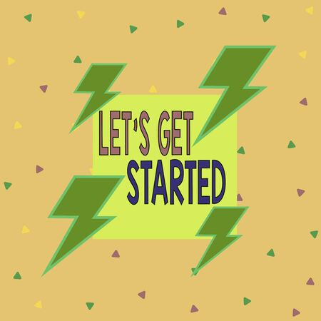 Handwriting text writing Let S Get Started. Conceptual photo to begin doing or working on something you had started Asymmetrical uneven shaped format pattern object outline multicolour design