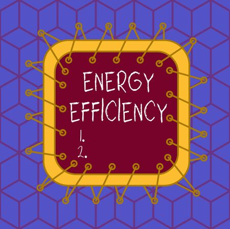 Writing note showing Energy Efficiency. Business concept for reduce the amount of energy required to provide product Asymmetrical uneven shaped pattern object multicolour design Banco de Imagens