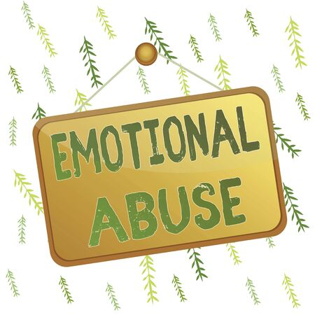 Handwriting text Emotional Abuse. Conceptual photo demonstrating subjecting or exposing another demonstrate behavior Colored memo reminder empty board blank space attach background rectangle
