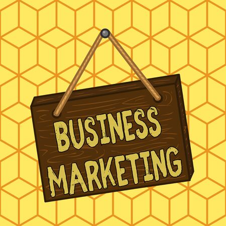Writing note showing Business Marketing. Business concept for products and services are sold to other businesses Square rectangle unreal cartoon wood on the coloured wall Imagens