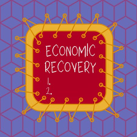 Writing note showing Economic Recovery. Business concept for rise of business activity signaling the end of a recession Asymmetrical uneven shaped pattern object multicolour design