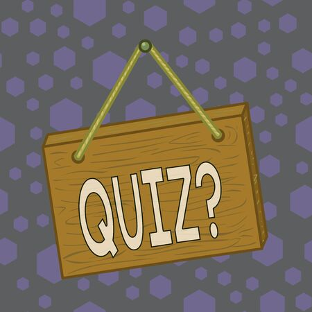 Writing note showing Quiz Question. Business concept for test of knowledge as competition between individuals or teams Square rectangle unreal cartoon wood on the coloured wall