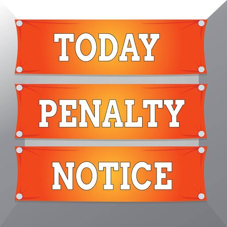 Conceptual hand writing showing Penalty Notice. Concept meaning the immediate fine given to showing for minor offences Wooden panel attached nail on colorful background plank wood