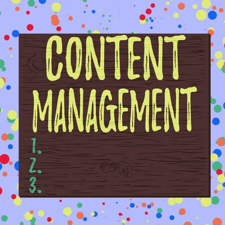 Word writing text Content Management. Business photo showcasing programs used to create and analysisage digital content Square rectangle unreal cartoon wood wooden nailed stuck on coloured wall Foto de archivo