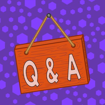 Writing note showing Q And A. Business concept for defined as questions being asked and answers Square rectangle unreal cartoon wood on the coloured wall