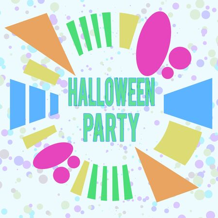 Handwriting text Halloween Party. Conceptual photo eve of the Western Christian feast of All Hallows Day Asymmetrical uneven shaped format pattern object outline multicolour design