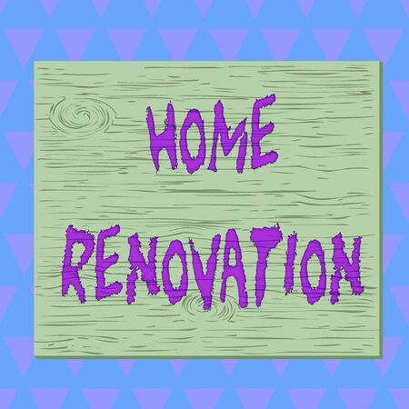 Conceptual hand writing showing Home Renovation. Concept meaning process of renovating or making additions to one home Square rectangle unreal cartoon wood on the coloured wall