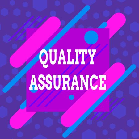 Word writing text Quality Assurance. Business photo showcasing preventing mistakes and defects in analysisufactured products Asymmetrical uneven shaped format pattern object outline multicolour design