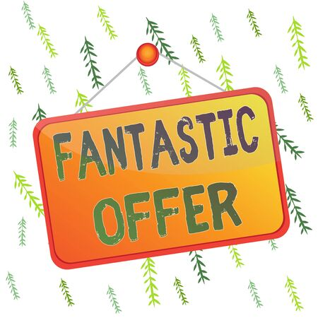 Handwriting text Fantastic Offer. Conceptual photo the seller accepts offers and is willing to negotiate Colored memo reminder empty board blank space attach background rectangle